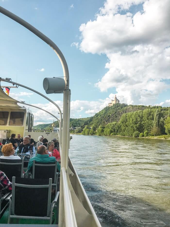 View of Marksburg from KD River Cruise, Romantic Rhine, Germany | Moon & Honey Travel