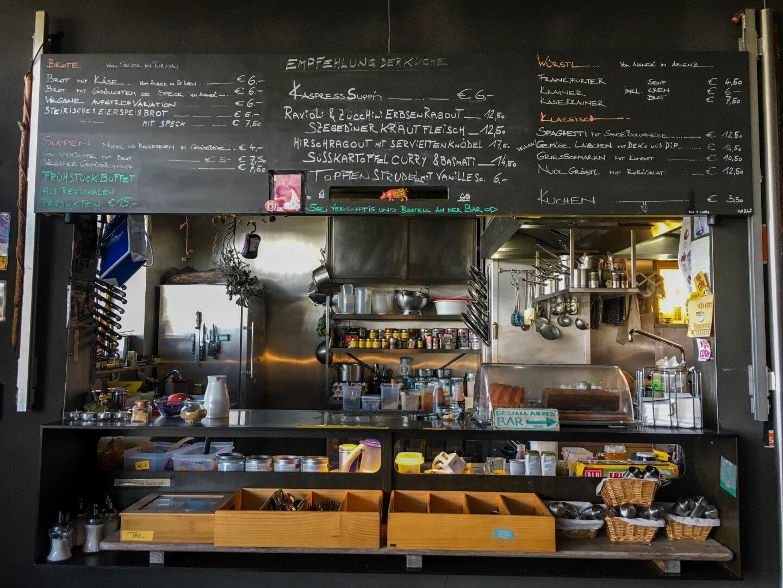 Schiestlhaus Mountain Hut Interior, Kitchen Menu, Austria
