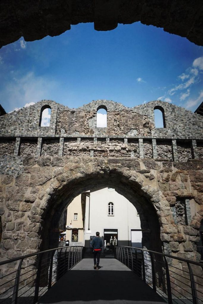 Praetorian Gate, Aosta Town, Roman Ruins, Aosta Valley, Italy