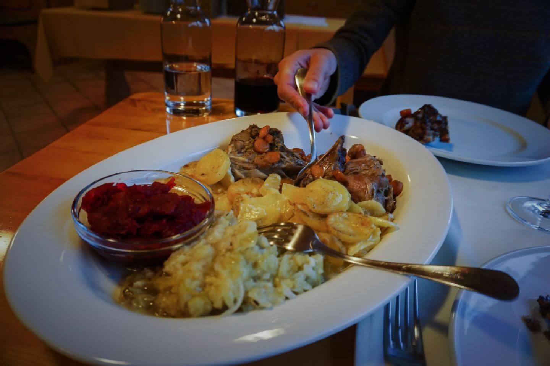 Dinner at Tourist Farm Kranjc, Kobarid, Slovenia
