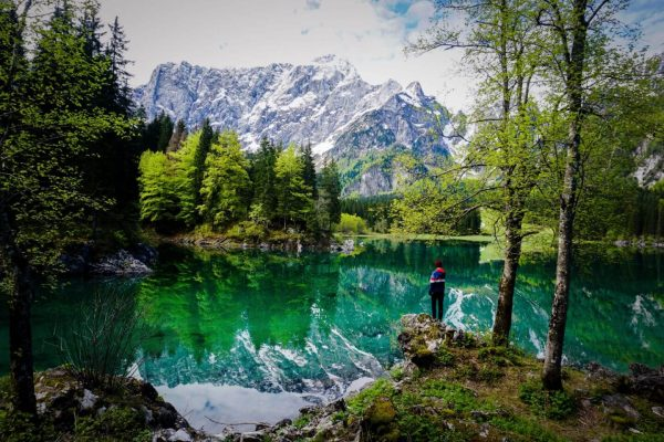 Walking around the Upper Fusine Lake, Laghi di Fusine, Italy