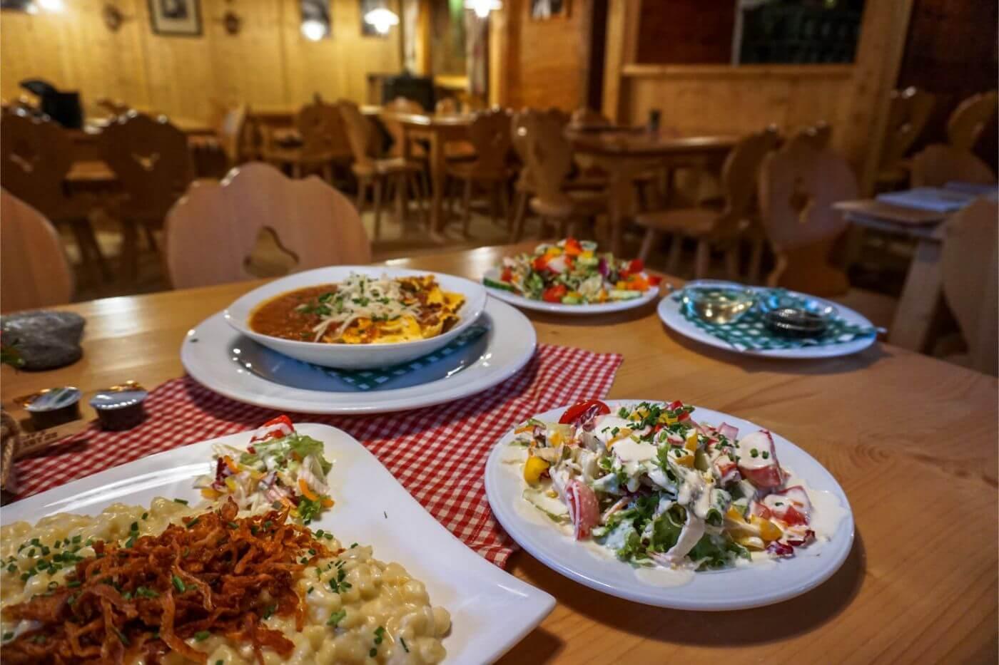 Grüne Wand Hütte Austrian meal, Stilluptal, Austria - Mayrhofen in Summer