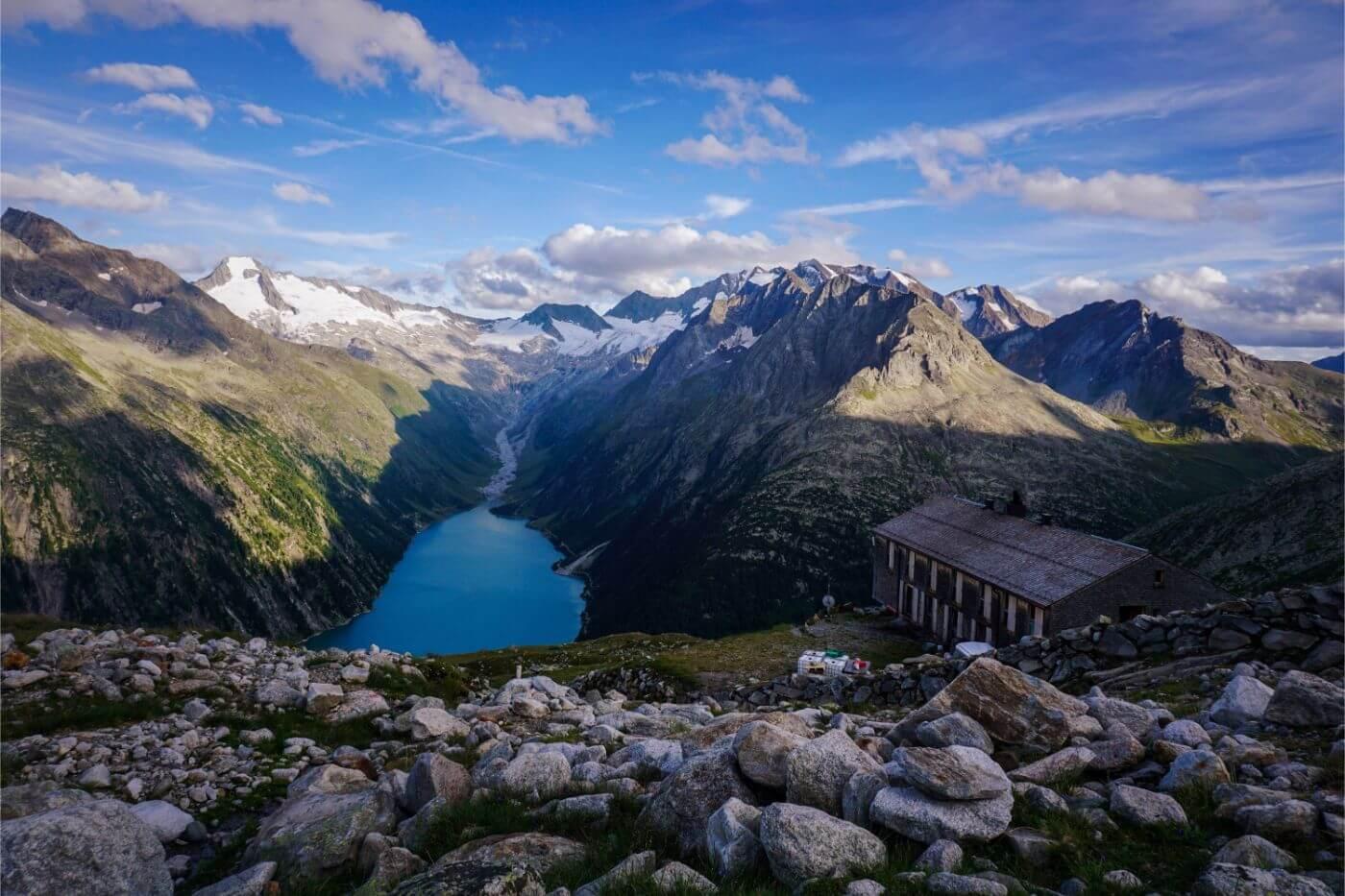 Olpererhütte - mountain refuge along the Berlin High Trail, Zillertal Alps, Austria