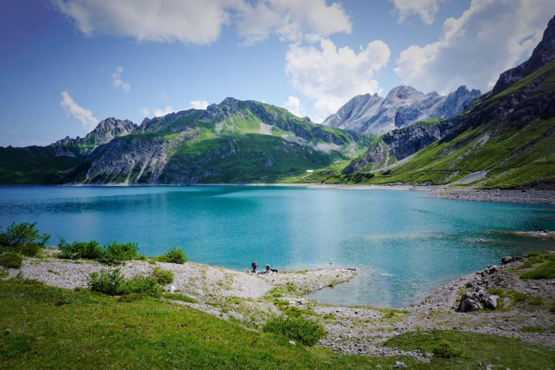 Lünersee Lake in the Rätikon Alps, Austria