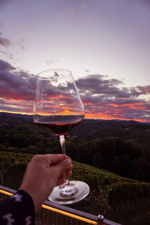 Sunset wine tasting at Jaglhof, South Styria, Austria