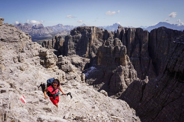 Hiking up to Cima Pisciadù, Sella Group, Italian Dolomites