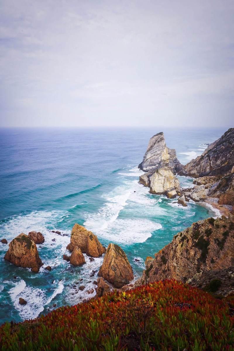 View of Ursa Beach from Coastal Trail, Sintra Coast, Portugal