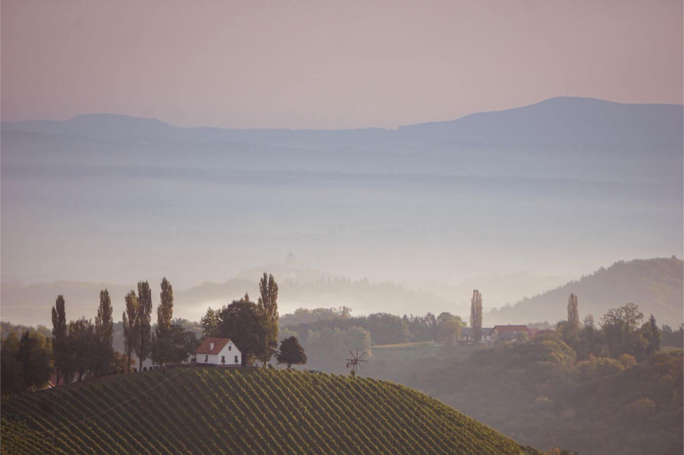 Sunrise in South Styria, Austria