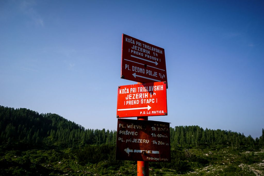 Triglav Lakes Valley Trail Sign, Slovenia