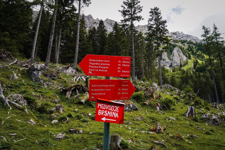 Dolga Njiva to Košutnikov Turn Hike, Karawanks, Slovenia Trail Sign