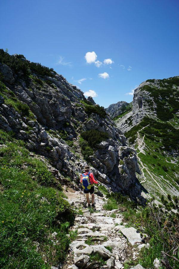 Descending to Saddle, Mount Vogel Day Hike, Slovenia