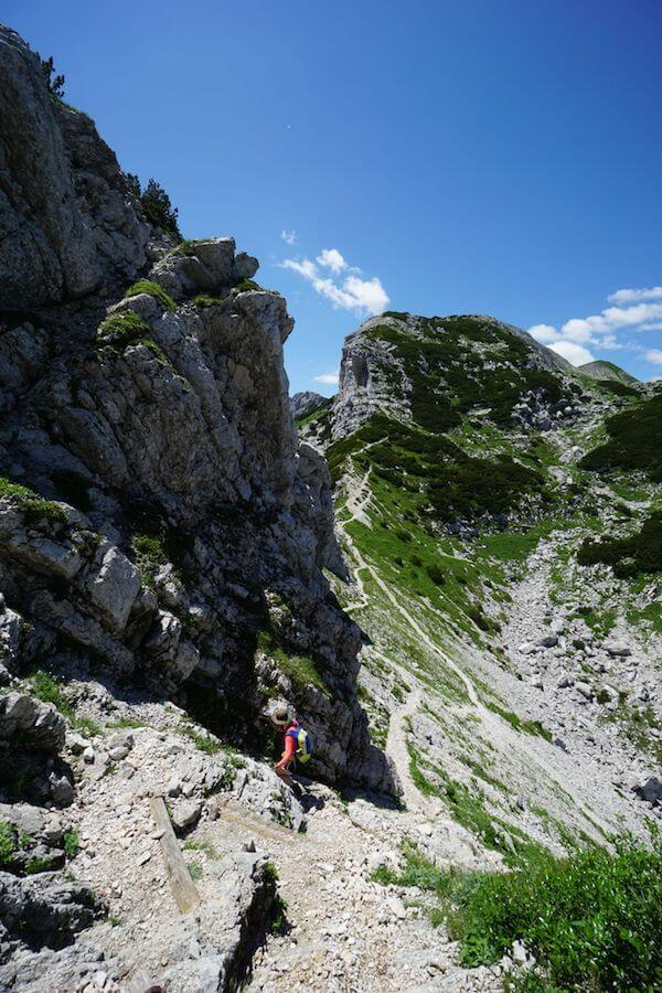 Descending to Saddle, Mount Vogel Day Hike
