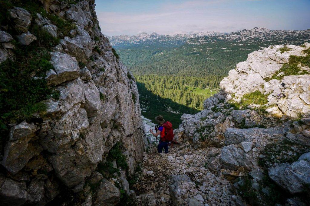 Descending Štapce to Triglav Lakes Valley, Slovenia