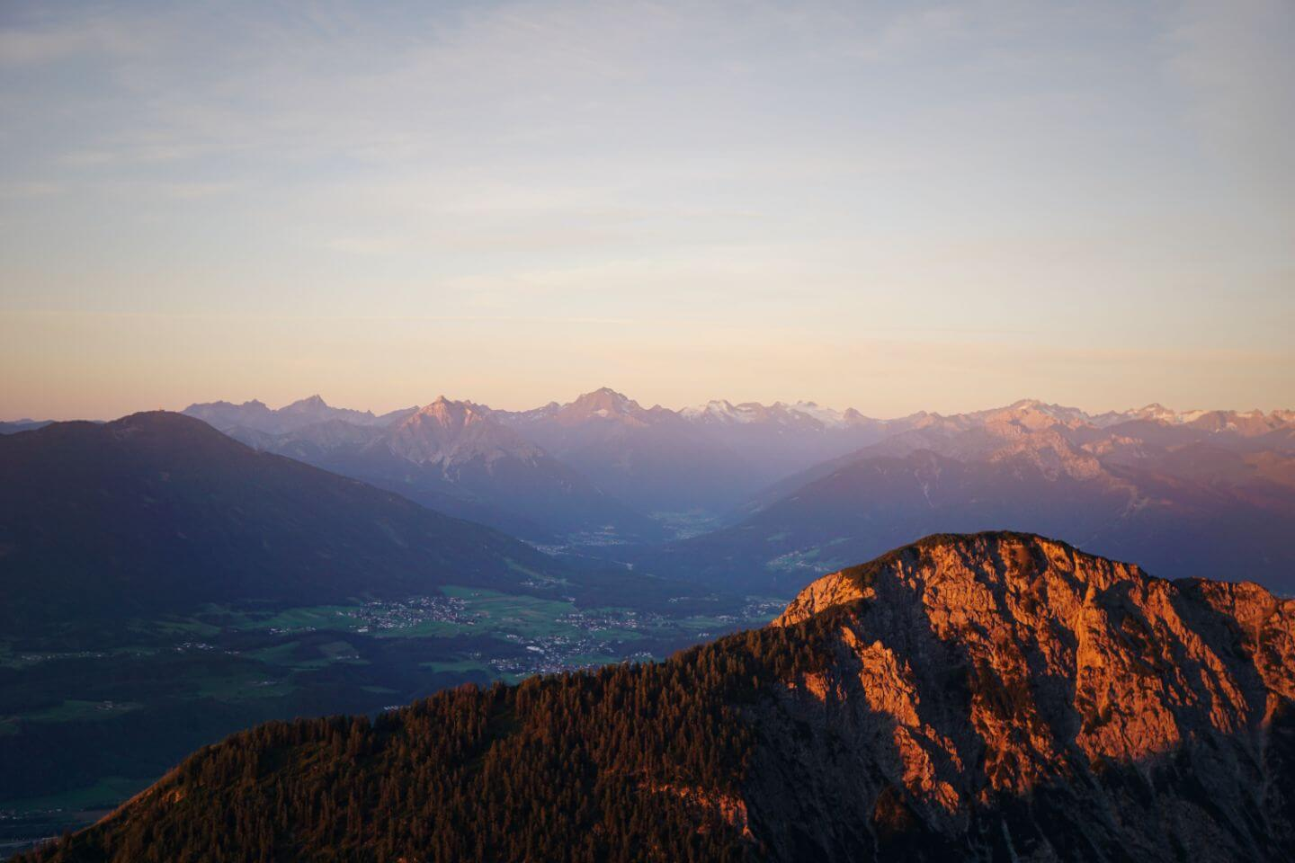 Sunrise, Inntal Valley, View from the Karwendel Mountains