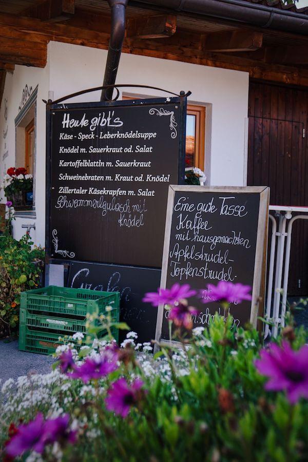 Tuxerbauer Hofladen Menu, Tulfes, Tirol, Austria