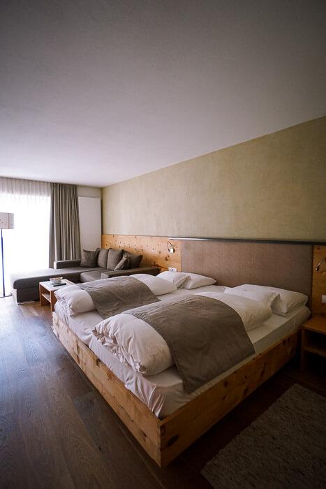 Naturhotel Leitlhof Bedroom, San Candido, Dolomites