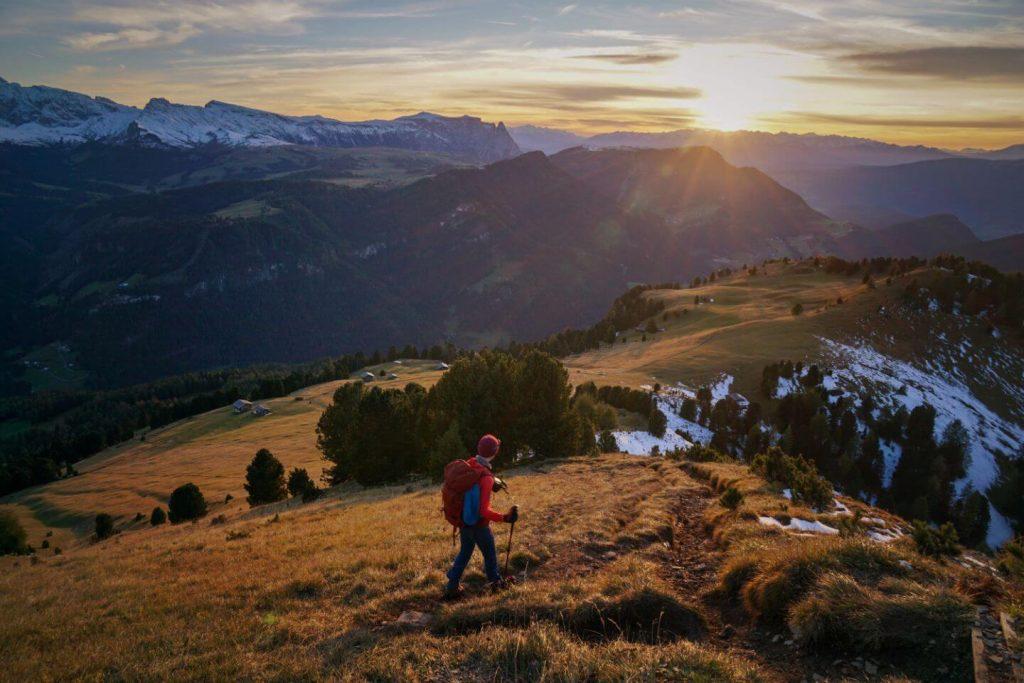 Descent to Sëurasas Alpine Pastures, Val Gardena, Dolomites