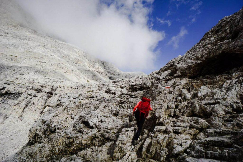 Trail 709, Ascent to Passo Pradidali Basso, Pale di San Martino
