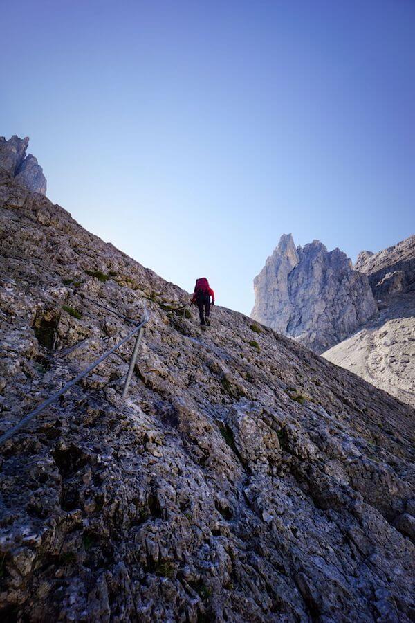 Secured trail 715 to Passo di Ball, Pale di San Martino