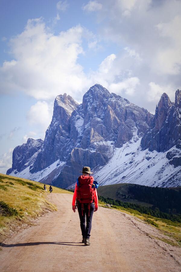 Hiking across Resciesa Plateau in October, Dolomites