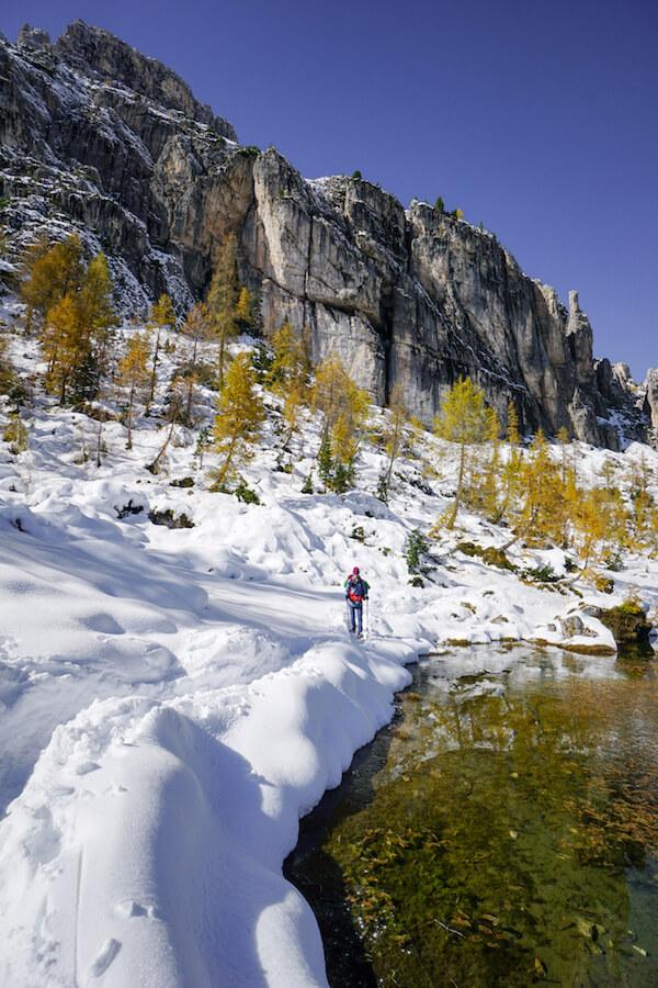 Hiking to Lago di Federa in October, Dolomites