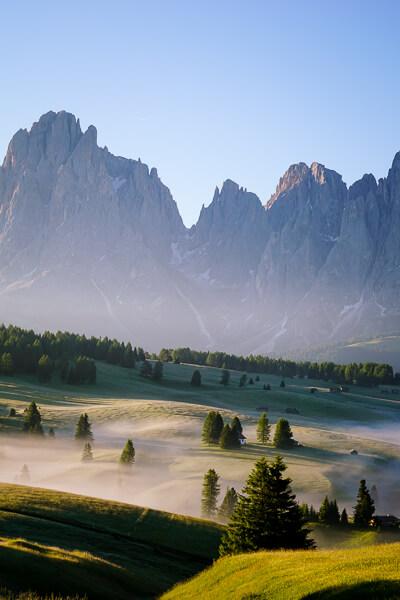 Alpe di Siusi morning fog, Dolomites, Italy