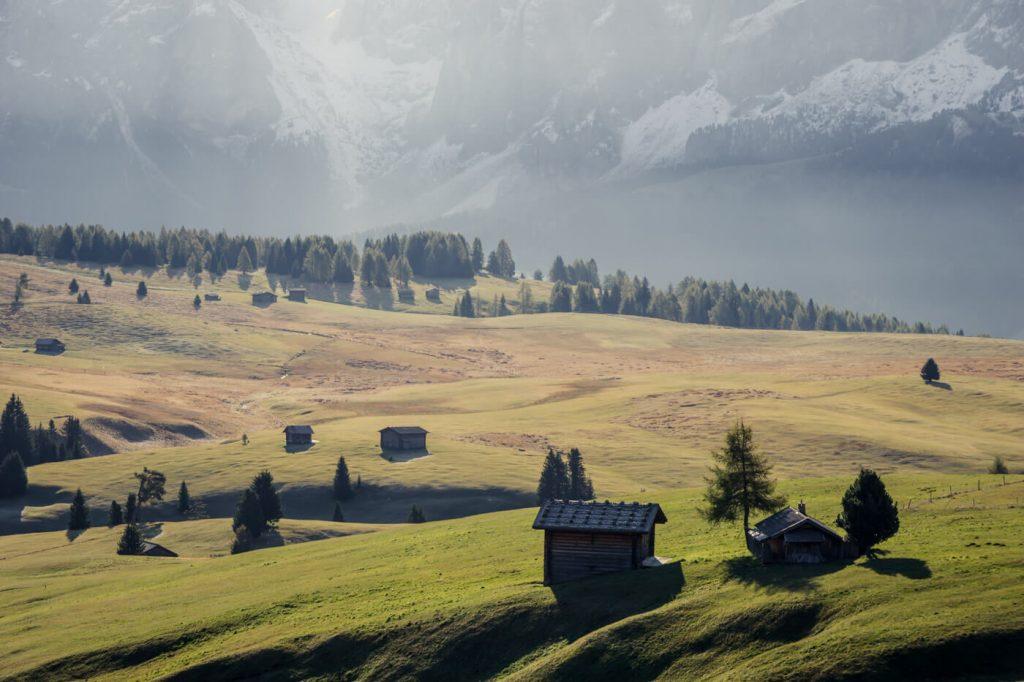 Alpe di Siusi Hay Huts, Italy, Dolomites