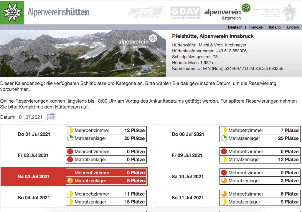 Alpsonline Mountain Hut Online Reservation Platform - Select Date