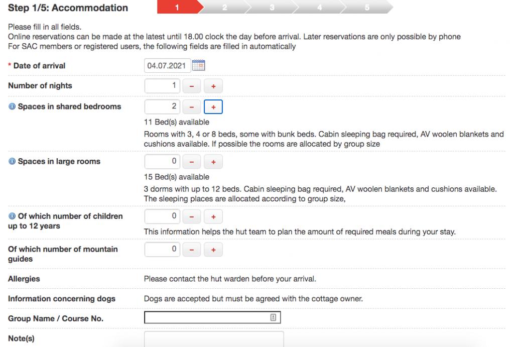 Alpsonline Mountain Hut Online Reservation Platform - Reservation Form Fill