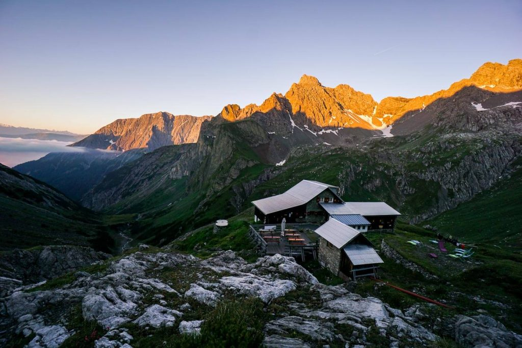 Hut to Hut Hiking in the Alps, Alps in Summer - Lechtal Alps mountain hut