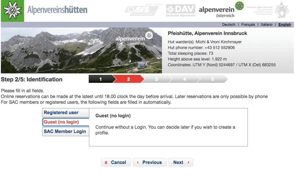 Alpsonline Reservation Platform Step 2