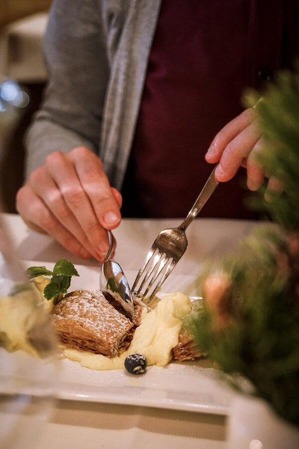 Hotel Steger-Dellai Dinner Dessert, Alpe di Siusi