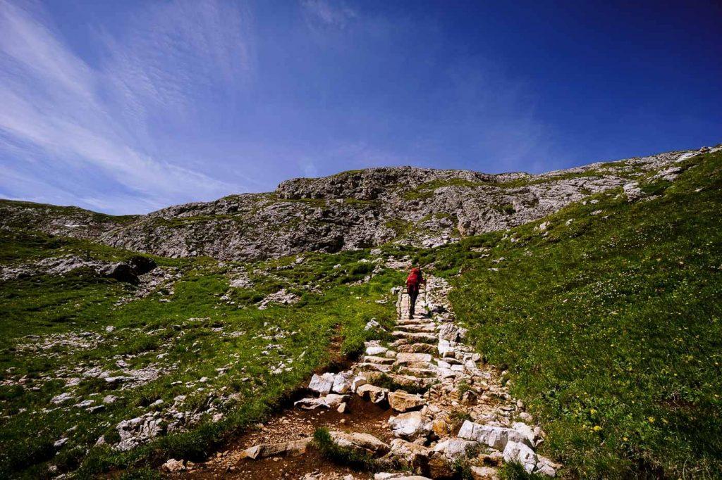 Ascent to Schlern Plateau, Dolomites