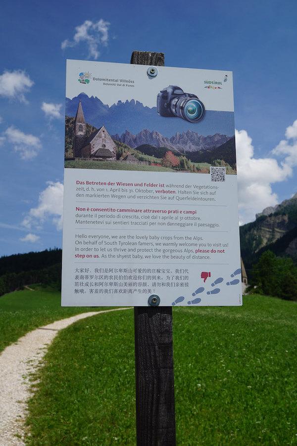 Stay on marked paths, Santa Maddalena, Dolomites