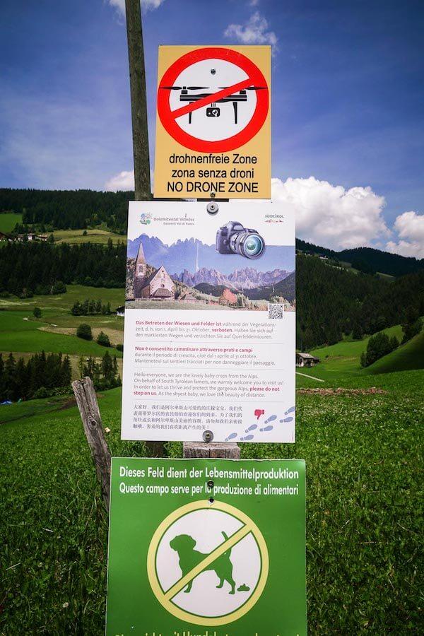 No drones allowed, Santa Maddalena, Dolomites