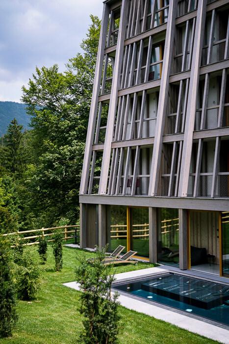 Hotel Bohinj outdoor whirlpool, Lake Bohinj, Slovenia