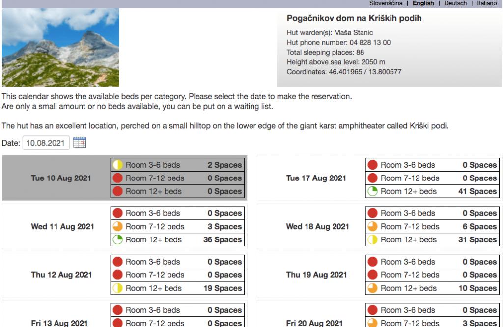 Slovenian Hut Alpsonline Booking Platform