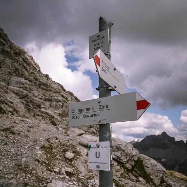 Vorarlberg Trail Sign, white-red-white, Austria